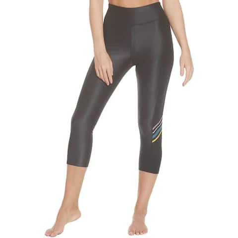 Splendid Women's Shimmer Stripe Activewear Capri Fitness Leggings - Black