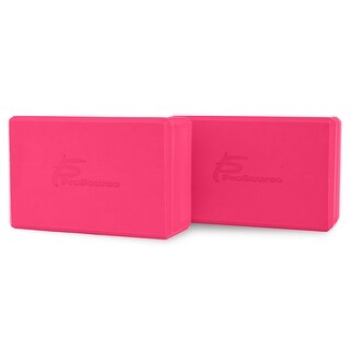 "ProsourceFit Set of 2 Foam Wedge Yoga Blocks Stretching Assistant High Density Large 9x6x4 - Pink - 9"" x 6"" x 4"""