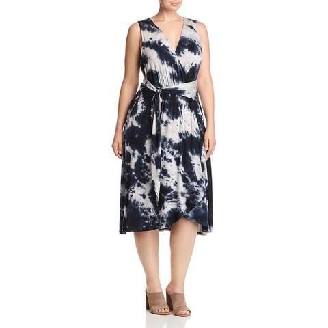 Bobeau Womens Plus Rowan Wrap Dress Tie-Dye Sleeveless
