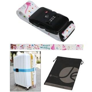 Wedding Pattern TSA Approved 3-Dial Combination Lock Luggage Strap and Bonus Reusable Storage Bag