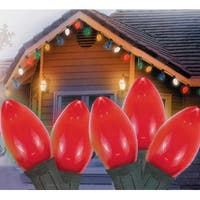 "Set of 25 Opaque Red C7 Christmas Lights 12"" Bulb Spacing 22 AWG - Green Wire"