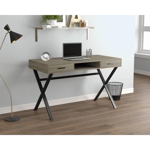 Computer Desk 47L Dark Taupe 2 Drawers 1 Shelf Black Metal