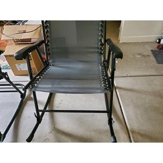 Outsunny Mesh Outdoor Patio Folding 2-Piece Rocking Chair Set with Ergonomic & Folding Design - Grey