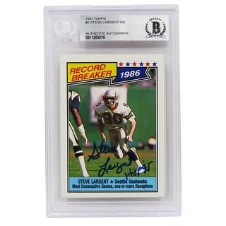 Steve Largent Seattle Seahawks 1987 Topps Record Breaker Football Card 5 WHOF95 Beckett Encapsulat