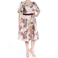 ADRIANNA PAPELL Womens Pink Floral Glitter 3/4 Sleeve V Neck Below The Knee Fit + Flare Dress Plus  Size: 18W