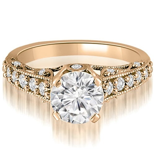 1.00 cttw. 14K Rose Gold Antique Milgrain Round Cut Diamond Engagement Ring
