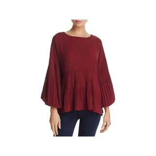 Cupio Womens Blouse Pleated Bishop Sleeves