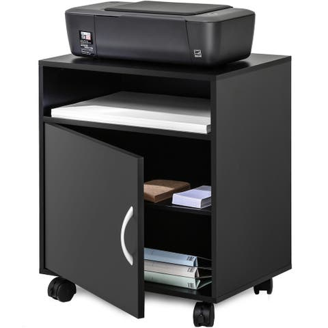 FITUEYES Printer Stand Mobile Black Wood File Cabinet on Wheels