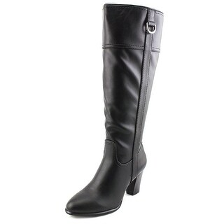 Alfani Carcha Women Round Toe Leather Black Knee High Boot