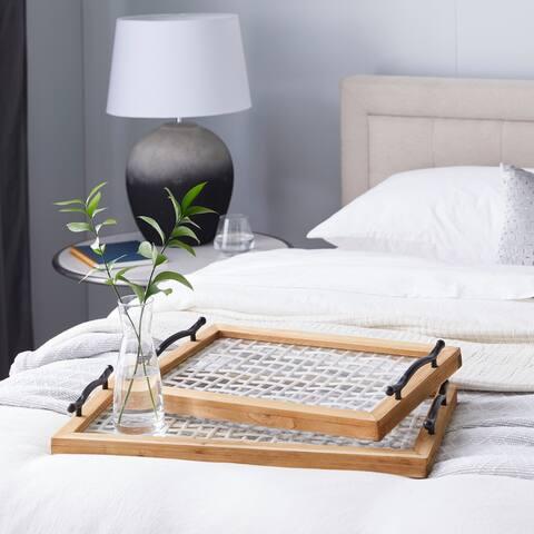 White Wood Farmhouse Tray (Set of 2) - 24 x 13 x 3