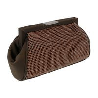 Scheilan  Brown Fabric Double Sided Crystal Paneled Clutch/Shoulder Bag - 7-4.5-2.5