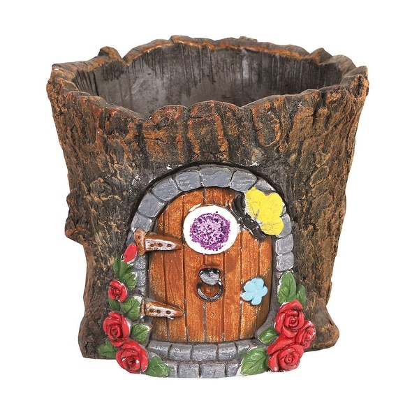 Signals Fairy Door in Tree Stump Planter - Fairy Garden Tree Trunk Cement Flower Pot / Garden Planter Lawn Ornament