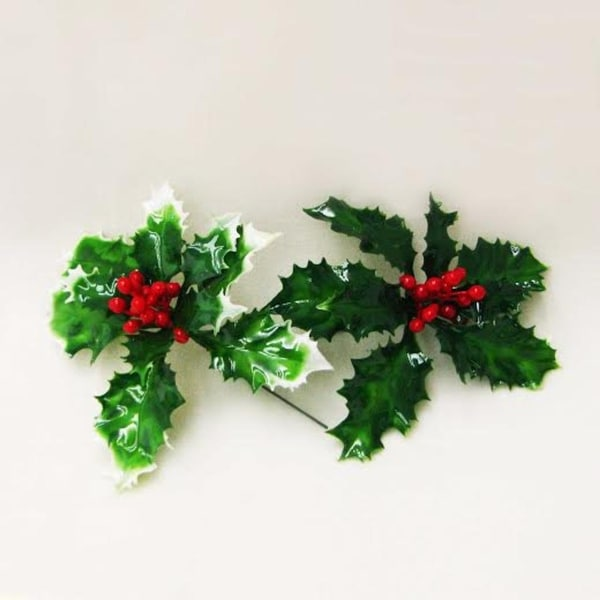 Club Pack Of 72 Lacquered Green Holly Leaves With Red Berries Artificial Christmas Picks 5