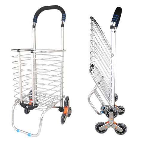 Stair Climber Foldable Shopping Cart 15.6 x 18.9 x 36.2 inches