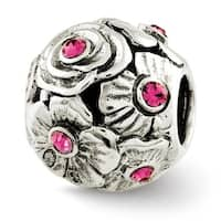 Sterling Silver Reflections Pink Swarovski Elements Flower Bead (4mm Diameter Hole)