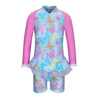 Sun Emporium Baby Girls Blue Butterfly Garden Long Sleeve Sun Suit