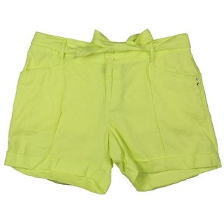 INC NEW Solid Sunny Lime Green Women's Size 2 Tie-Belted Shorts