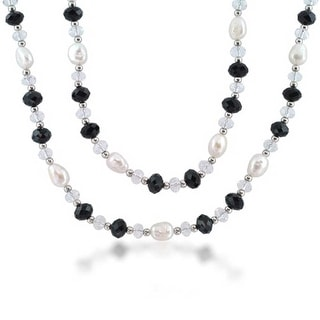 Wrap Long Black White Crystal Freshwater Cultured Pearl Strand Necklace For Women 40 Inch