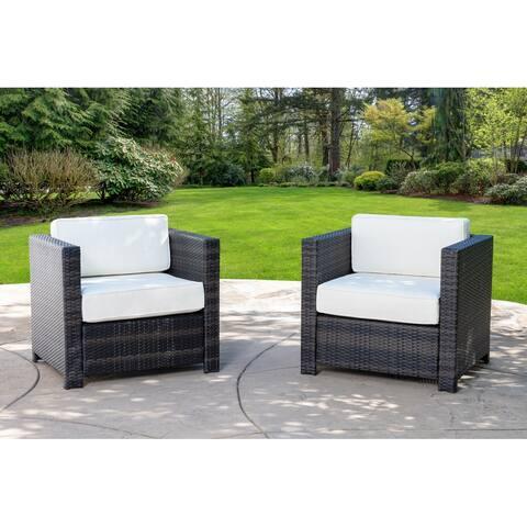 Abbyson Emerson Outdoor Wicker Patio Armchair (Set of 2)