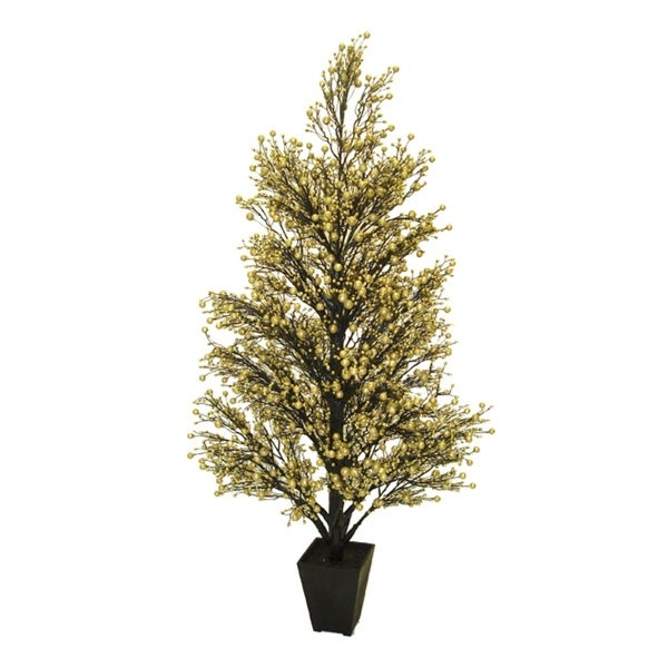 """44"""" Potted Gold & Black Glittered Berry Christmas Tree"""