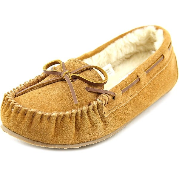 Minnetonka Lily Junior Trapper Youth Moc Toe Suede Brown Slipper