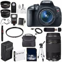 Canon EOS Rebel T5i 18 MP CMOS DSLR Camera f/3.5-5.6 Lens (International Model) + Canon f/4-5.6 III USM Lens Bundle
