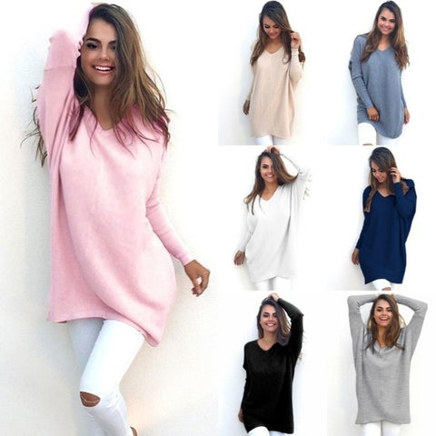 Autumn Winter Dress Womens V-Neck Loose Knitted Oversized Baggy Sweater