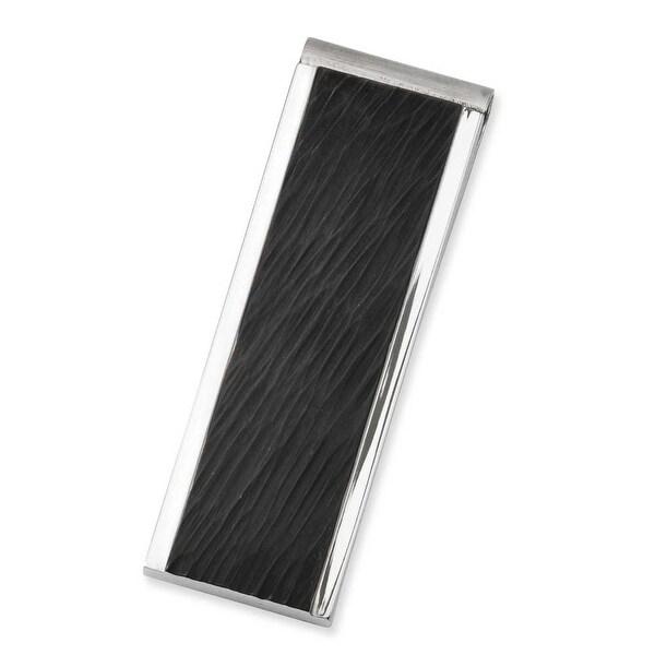 Stainless Steel Textured Black IP Money Clip