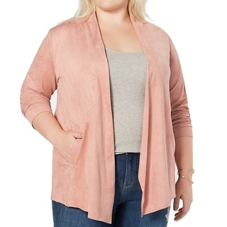 Link to Style & Co. Womens Jacket Pink Size 2X Plus Faux Suede Open Front Similar Items in Women's Outerwear