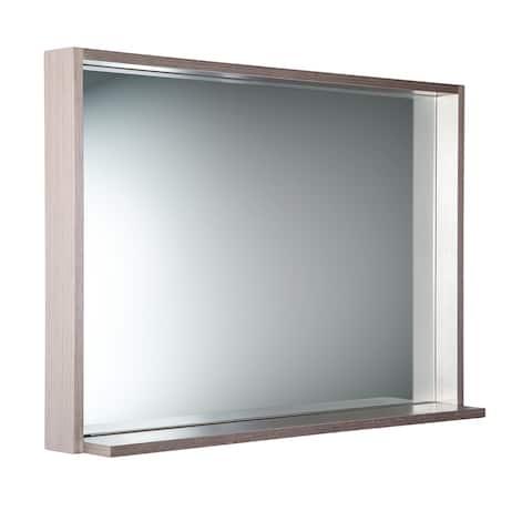 """Fresca Allier 40"""" Gray Oak Mirror with Shelf"""