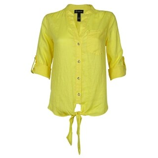 INC International Concepts Women's Linen Front Buttoned Cardigan - Yellow - 2