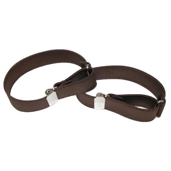 Brown CTM/® Mens Leather Solid Color Adjustable Armband Sleeve Garter