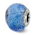 Italian Sterling Silver Reflections Blue with Silver Glitter Glass Bead (4mm Diameter Hole) - Thumbnail 0
