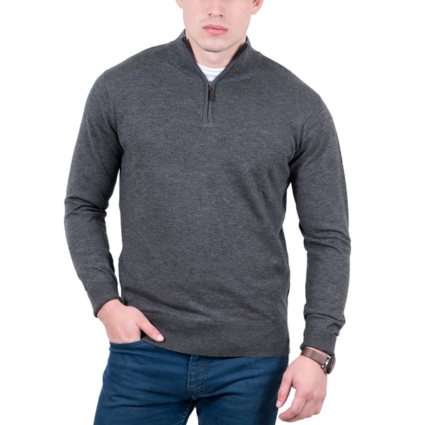 Real Cashmere Grey Half Zip Cashmere Blend Mens Sweater