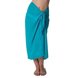 Long Turquoise Swimsuit Sarong Cover up with Built in Ties One Size