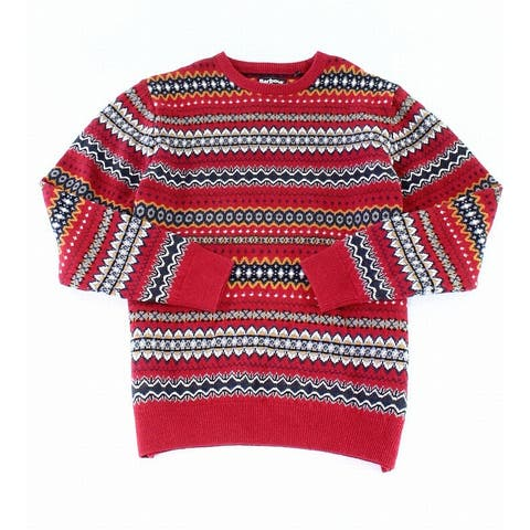 Barbour Mens Sweater Red Size 2XL Fair Isle Printed Wool Crewneck