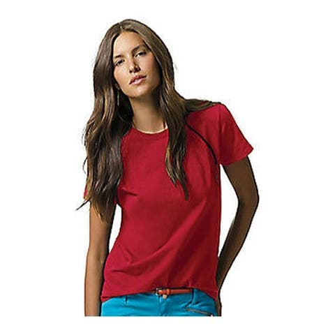 Hanes Women's Relax Fit Jersey Tee 5.2 oz (Set of 4) Deep Red