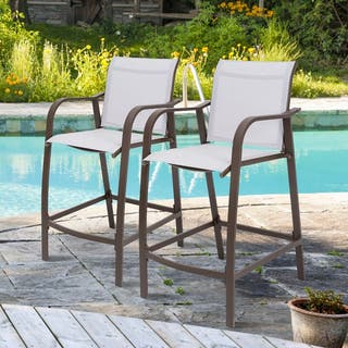 """Crestlive Products Outdoor Counter Height Bar Stools 2 PCS Set - 21.7""""W x 25.6""""D x 43.7""""H"""