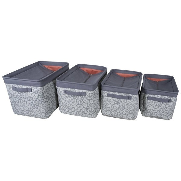 Canvas Storage Bins with Zippered Cover, Set of 4, Grey