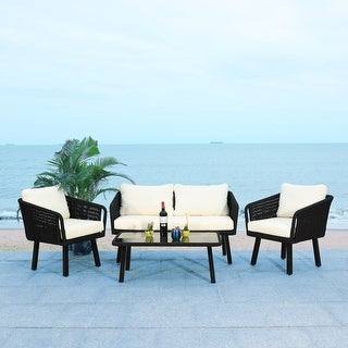 Link to SAFAVIEH Outdoor Kerson 4-Piece Rope Patio Set Similar Items in Patio Furniture