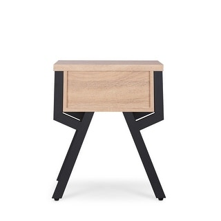 End Table In Weathered Light Oak - Particle Board, Mdf, Metal