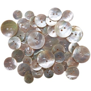 Favorite Findings Shellz Buttons-Assorted Natural Pearl Round Agoya