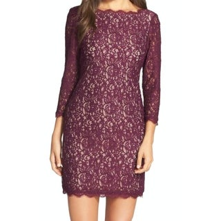 Adrianna Papell NEW Purple Womens 16 V-Back Lace Scallop-Trim Dress