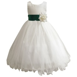 Wedding Easter Flower Girl Dress Wallao Ivory Rattail Satin Tulle (Baby - 14) Green Hunter