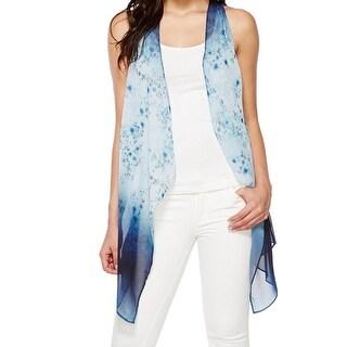 Karen Kane NEW Blue Womens Size Medium M Floral Print Sheer Vest Jacket
