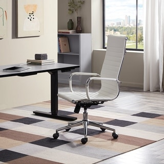 Belleze Modern High-Back Ribbed Upholstered Conference Office Chair, White