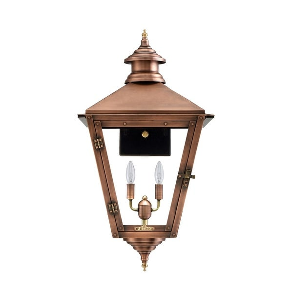 """Primo Lanterns SV-22E Savannah 22"""" Wide 2-Light Outdoor Wall-Mounted Lantern in Electric Configuration - Copper - n/a"""