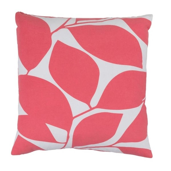 "18"" Lavish Leaves Conch Pink and Timberwolf Gray Decorative Throw Pillow-Down Filler"