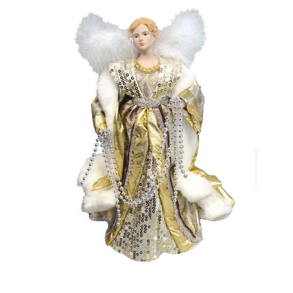 """16"""" Shimmering Silver, Gold and White Decorative Angel Tree Topper - Unlit"""