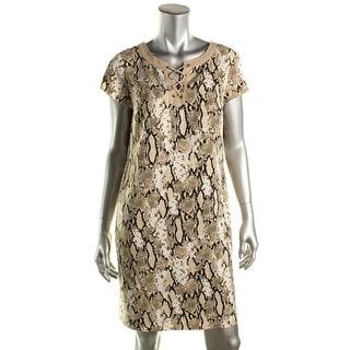 Jones New York Womens Casual Dress Snake Print Lace-UP